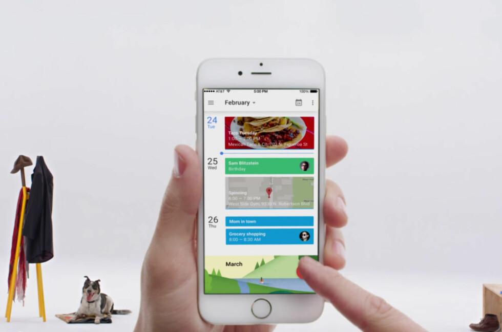 LEKKER: Googles kalenderapp tar seg bra ut på iPhone også. Foto: GOOGLE
