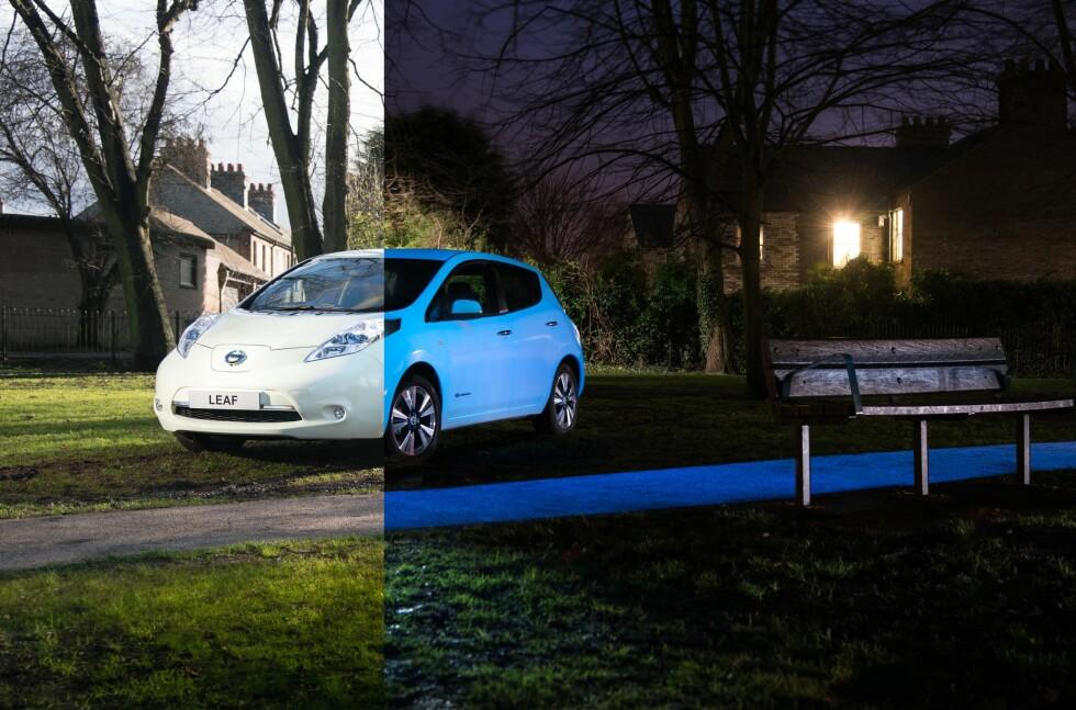 LYSENDE LEAF: Med den nye UV-lakken skal bilen kunne lyse av seg selv i åtte til ti timer. Foto: NEWSPRESS