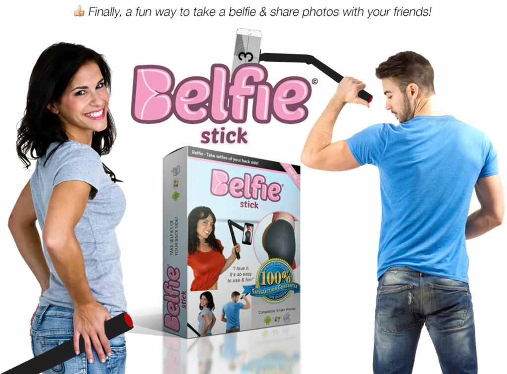 GLEM SELFIESTANGA: Belfiestanga skal visstnok gjøre det lettere å ta bilder av rumpa ... Foto: PRODUSENTEN