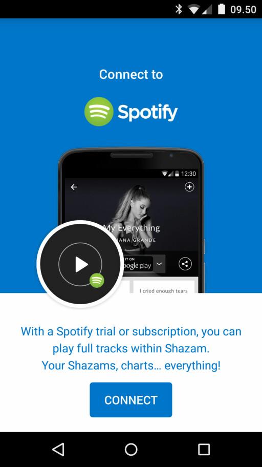 KOBLE SAMMEN: Du kobler Spotify-kontoen din med Shazam ved å gå til innstillingsmenyen; I Android er den merket med tre prikker, mens på iOS er den utformet som et tannhjul. Foto: KIRSTI ØSTVANG