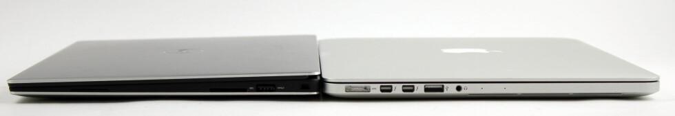 9-15? Macbook Pro (til høyre) er 18mm høy, men Dell-maskinen er høyere på sitt tykkeste.