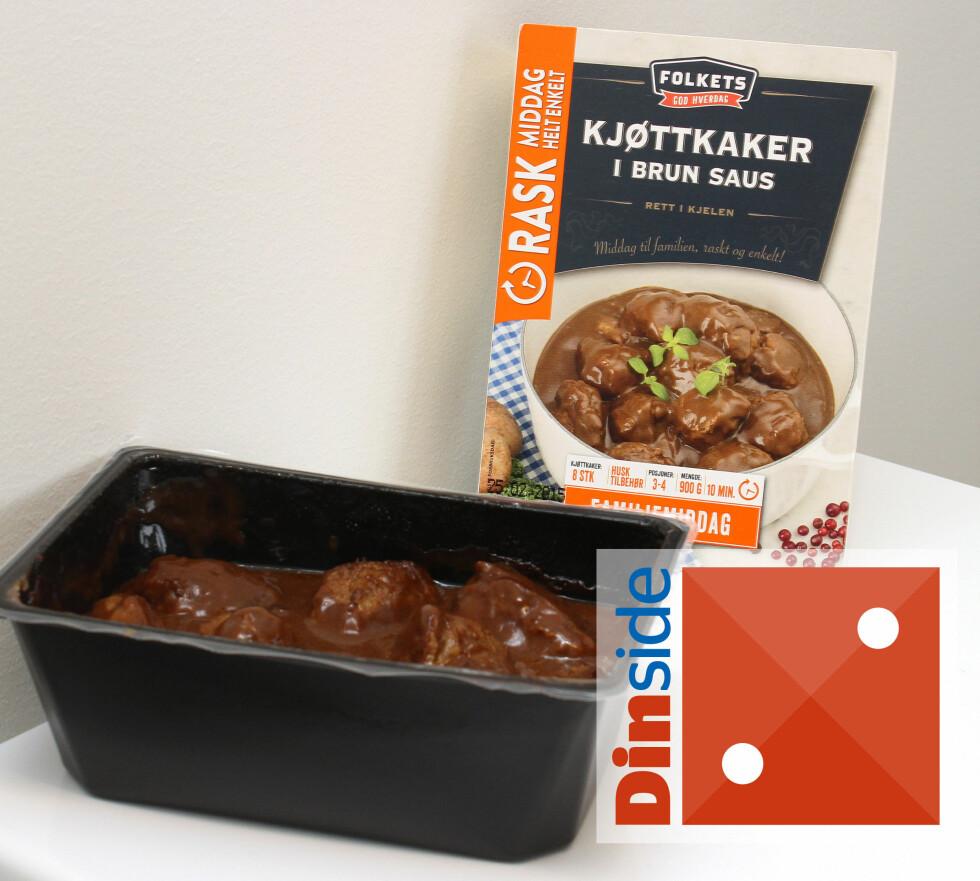 NEI NEI NEI: Disse kjøttkakene liker vi ikke, og sausen er en parodi på brun saus. Denne vil vi ikke kjøpe! Foto: OLE PETTER BAUGERØD STOKKE