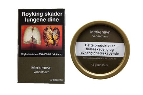 Slik skal sigarettpakker og snusbokser se ut, om det nye forslaget blir innført.  Foto: REGJERINGEN.NO