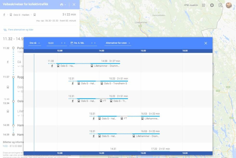 <strong><strong>KOLLEKTIVT:</strong></strong> Google Maps har også informasjon om kollektivtrafikken i mange land. Foto: PÅL JOAKIM OLSEN