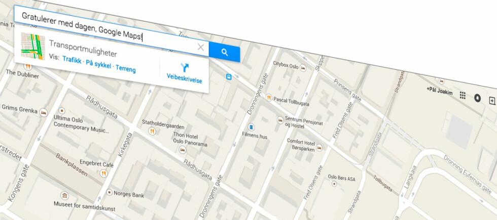 TI ÅR: I dag er det ti år siden Google Maps ble lansert. Foto: PÅL JOAKIM OLSEN