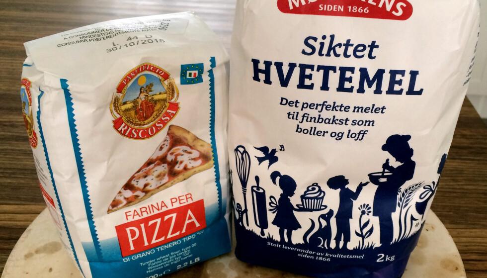 BRUK PIZZAMEL! Nei, det er ikke det samme hvilket mel du bruker. Prøv pizzamel - det er stor forskjell både på smak, sprøhet og luftighet! Foto: Kristin Sørdal