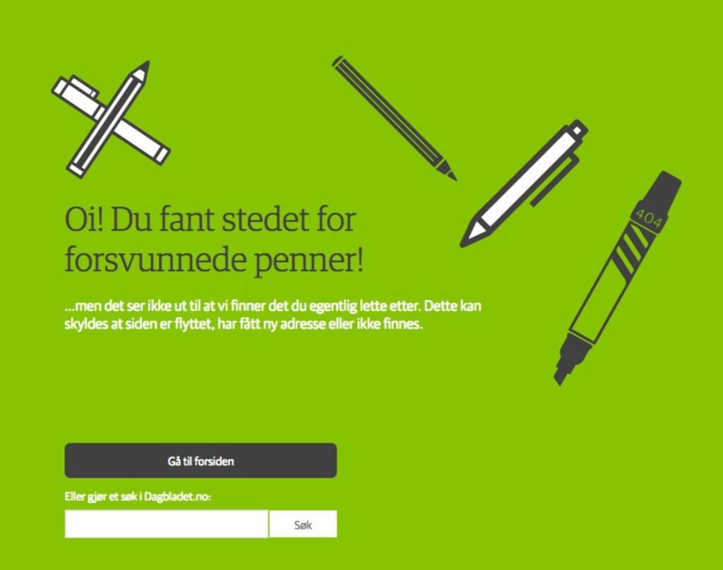 404: Det finnes mange fikse 404-feilsider. Her er Dagbladet.no sin. Foto: PÅL JOAKIM OLSEN