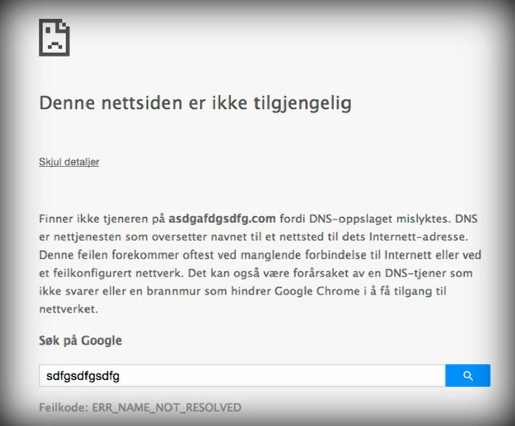 SKRIVEFEIL? Denne feilmeldingen får du om nettstedet du prøver å navigere til ikke finnes. Foto: PÅL JOAKIM OLSEN