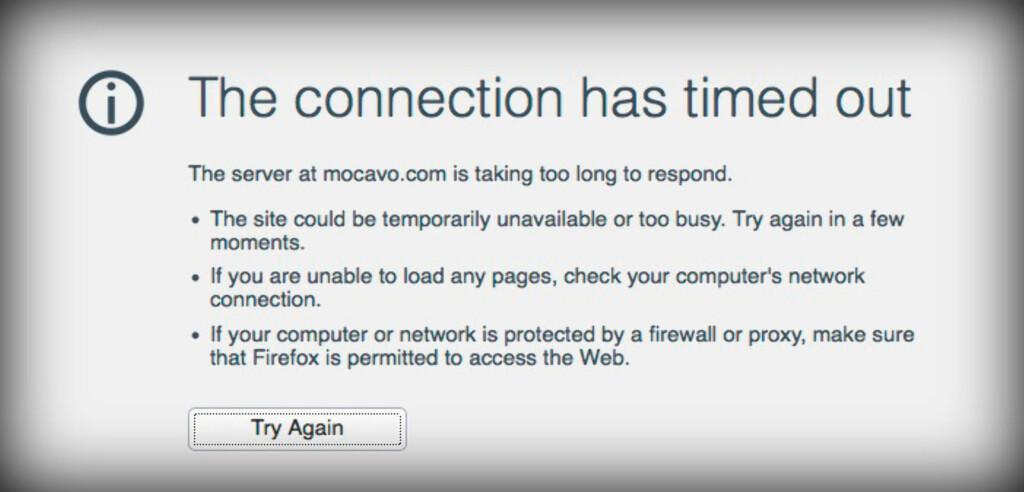 NEDE FOR TELLING: Slik ser det ut i Firefox når et nettsted ikke svarer på forespørselen. Sannsynligvis er det ikke noe galt med ditt nettverk. Foto: PÅL JOAKIM OLSEN