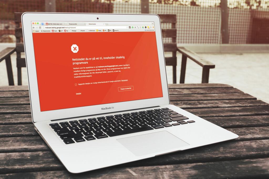<strong>RØD BETYR FARE:</strong> Advarer nettleseren din deg med rød bakgrunn, er det god grunn til å trykke på tilbake-knappen. Foto: PÅL JOAKIM OLSEN