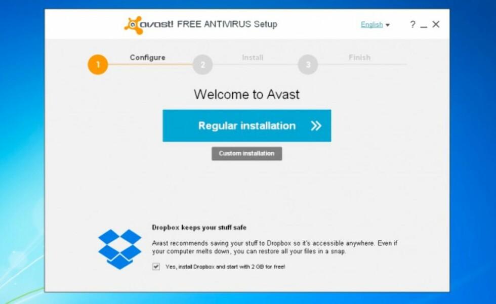 GREI START: Med mindre man huker det bort, installeres også Dropbox når man installerer Avast; en tjeneste vi tross alt varmt kan anbefale. Foto: HOWTOGEEK