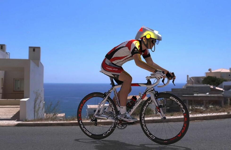 SIKKERHET OG ANSVAR: Forslaget om innføring av denne typen hjelm med registrering er fremmet av lokale myndigheter i Sydney i Australia. Idéen er både å beskytte syklisten selv og å sørge for at syklisten vil stilles til ansvar for sine handlinger på lik linje med motoriserte trafikanter. Foto: SMART HAT