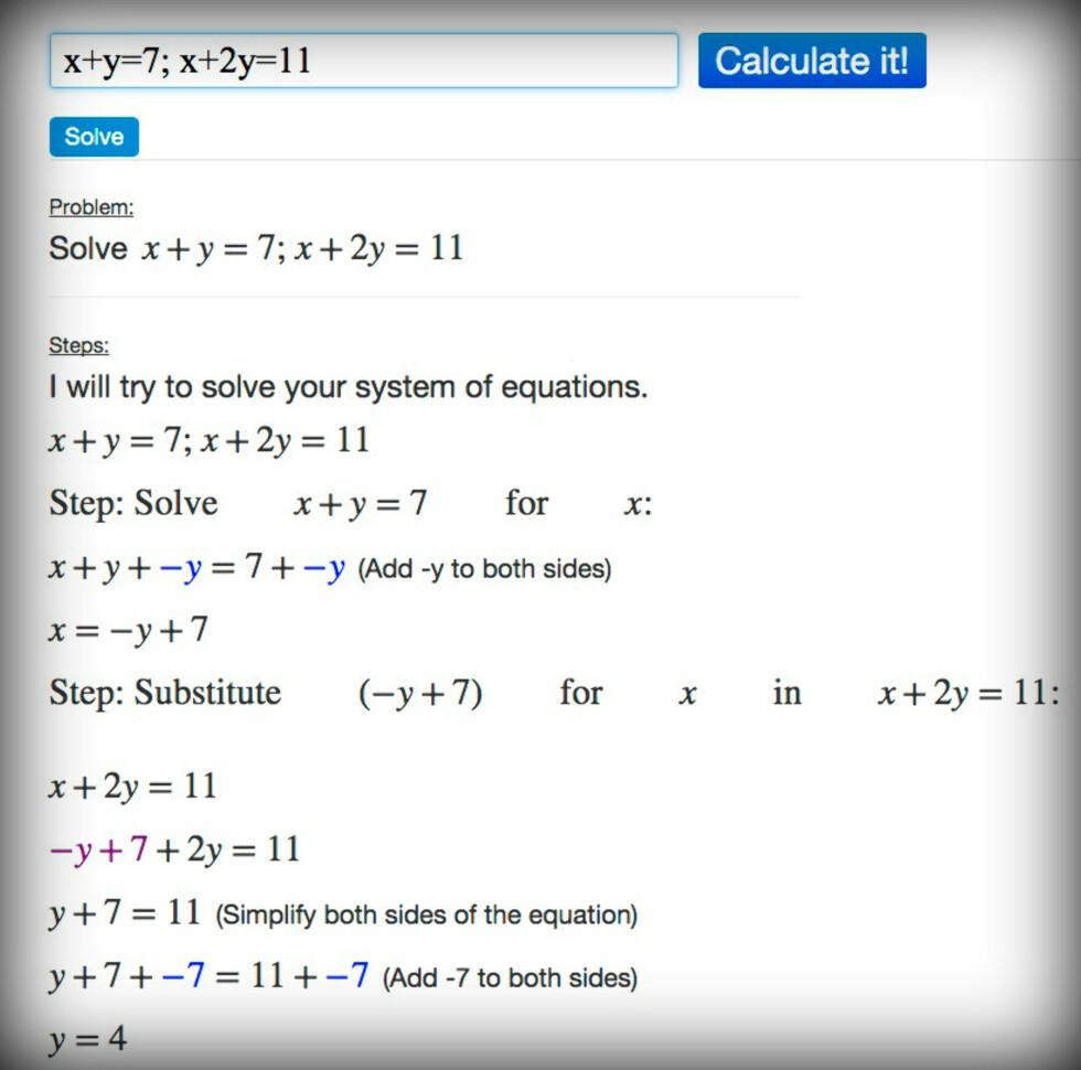 STEG FOR STEG: Algebra Calculator viser her hvordan man løser en ligning med to ukjente.