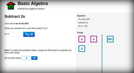 OPPLÆRING: Du kan også lære å løse ligninger mer visuelt med intereaktiv opplæring.