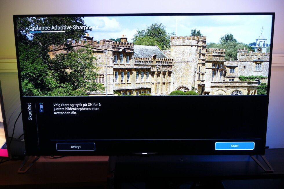 Bildemeny: Automatisk innstilling av skarphet, avhengig av hvor langt unna TV-en du sitter. Foto: ØYVIND PAULSEN