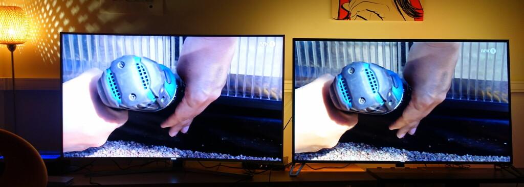 NRK 1 (720p): Skalert opp til 4K av TVen. Her er det ikke mye å klage på. Philips til høyre, Samsungs splitter nye toppmodell til venstre. Foto: ØYVIND PAULSEN