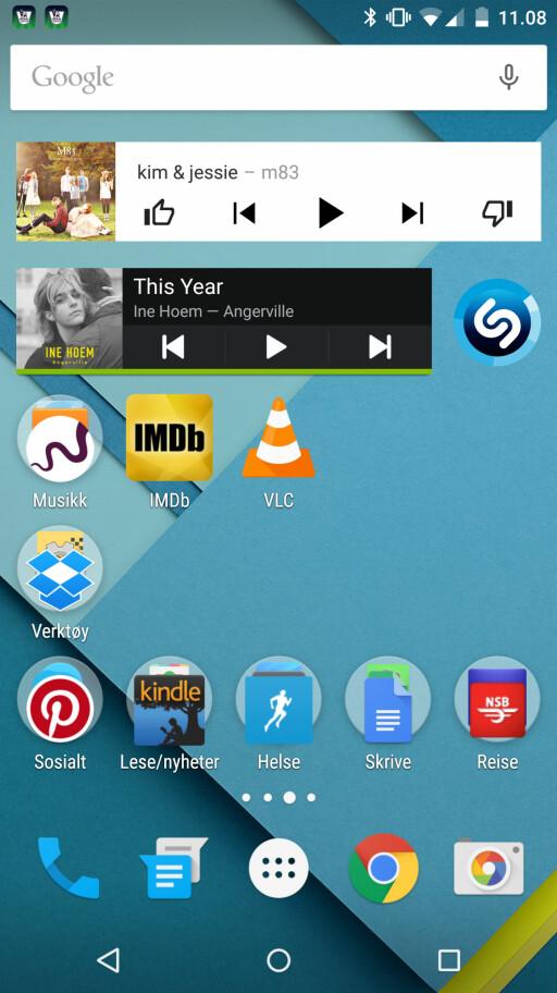 ORGANISERINGSPROBLEMER? Vi får ikke utvidet Spotify-widget til å rekke på tvers av skjermen. Ikke nødvendigvis Googles feil, men ordensmennesket i oss liker ikke det noe særlig. Foto: KIRSTI ØSTVANG