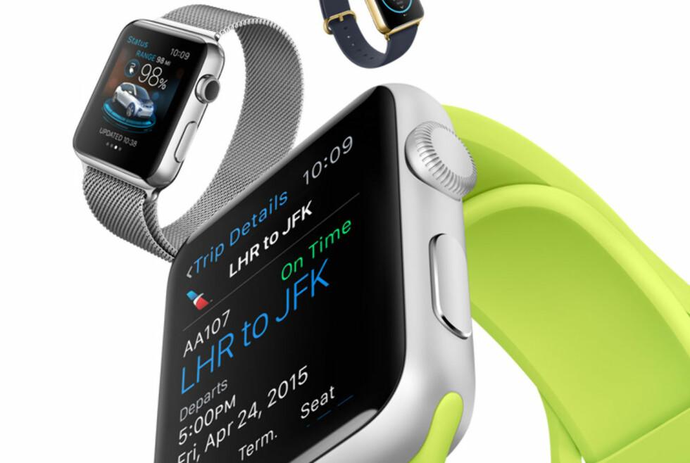 <strong><b>MER ENN BARE EN KLOKKE:</strong></b> Hva skal man egentlig bruke Apple Watch til? De allerede tilgjengelige appene gir et visst inntrykk. Foto: APPLE