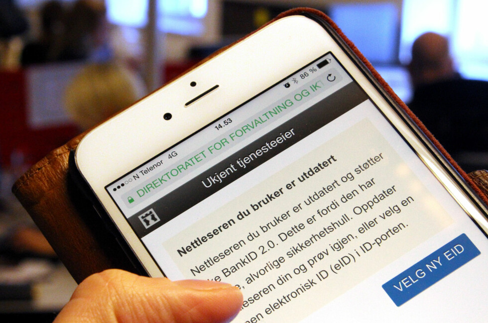 FEILMELDING: Her er meldinga du fikk om du prøvde å bruke BankID sammen med iOS 8.2 akkurat nå. Foto: OLE PETTER BAUGERØD STOKKE