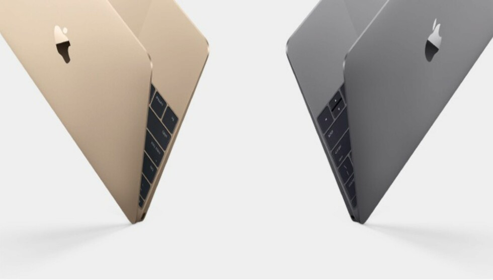 LEKKER: Den veier rundt 900 gram og er bare 13,1mm tynn – nye Macbook kommer i både gull, sølv og grå. Foto: APPLE