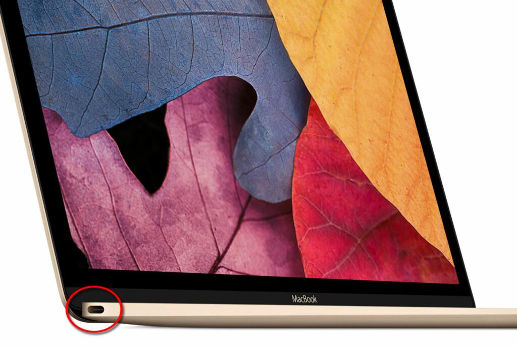 <b>ÉN PORT TIL Å HERSKE OVER DEM ALLE:</b> Den nye MacBook-en med kun én usb-port vekker oppsikt. Foto: APPLE
