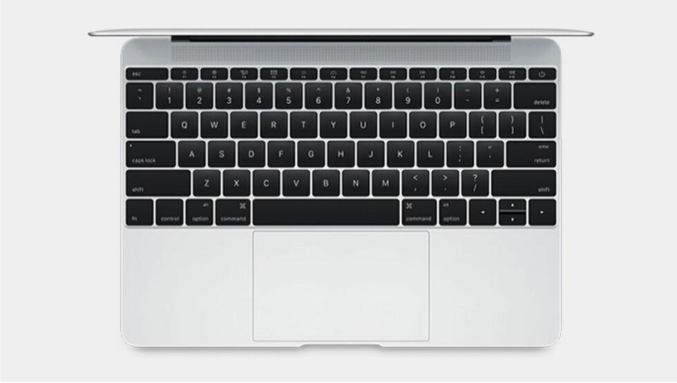 KANT TIL KANT: Tastaturet på den nye 12-tommeren strekker seg helt ut i kantene. Tastene er 40% tynnere, men har 17% større areal enn på øvrige Macbook-maskiner.