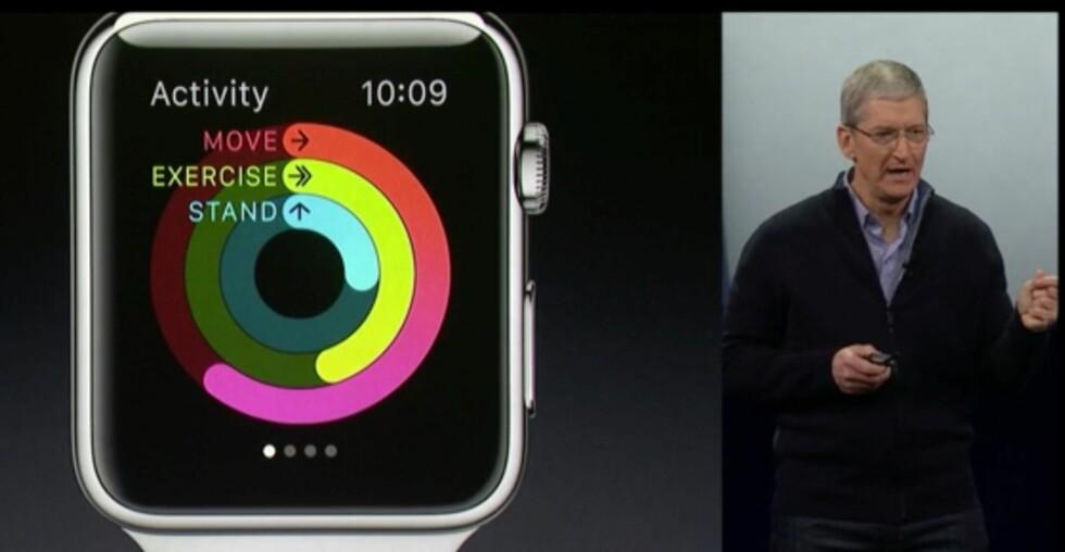 HOLDER OVERSIKT: Apple Watch følger med på hvor aktiv du er og gir deg rapporter deretter.