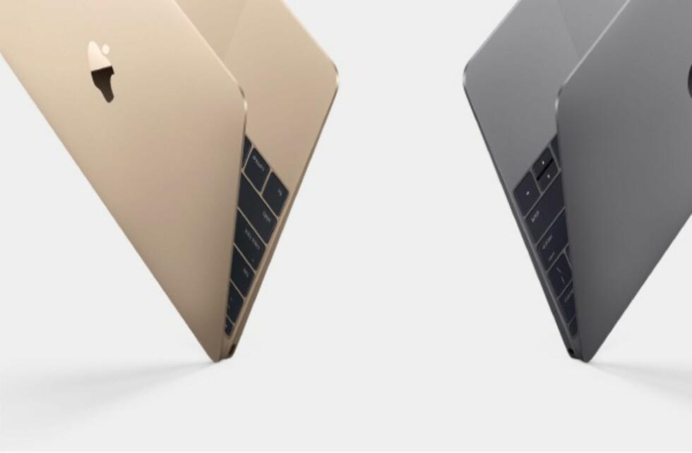 LEKKER: Den veier rundt 900 gram og er bare 13,1mm tynn –nye Macbook kommer i både gull, sølv og grå. Foto: APPLE