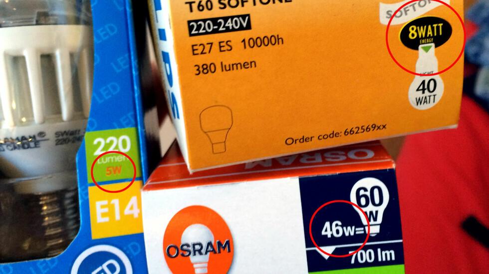 STRØMBRUK: Watt handler om strømforbruk. Det er store forskjeller fra en halogenpære til en LED- eller sparepære. Foto: KRISTIN SØRDAL