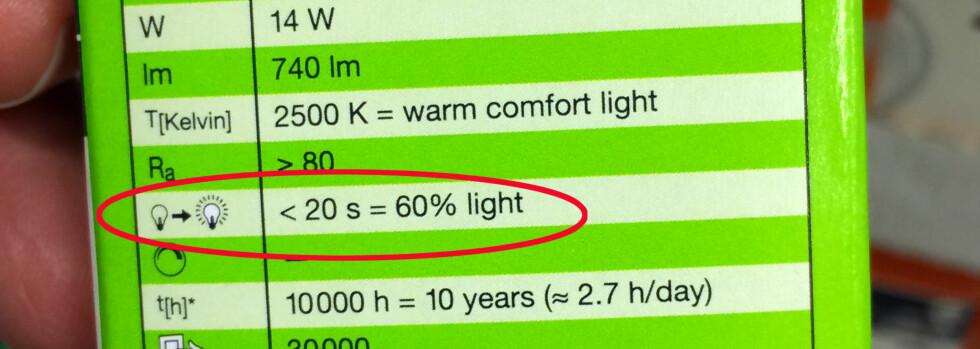 NÅR BLIR DET LYS? Halogenlampene gir deg lys fra første sekund, mens det kan variere mer når det kommer til sparepærer. Denne sparepæren kan bruke 20 sekunder på å oppnå 60 prosent lyseffekt. Foto: KRISTIN SØRDAL
