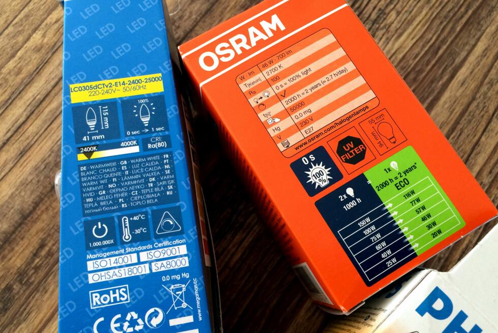 VIKTIG INFORMASJON: Det er en mengde informasjon på lyspæreforpakningene. Vet du hva alle symbolene og betegnelsene betyr? Foto: KRISTIN SØRDAL