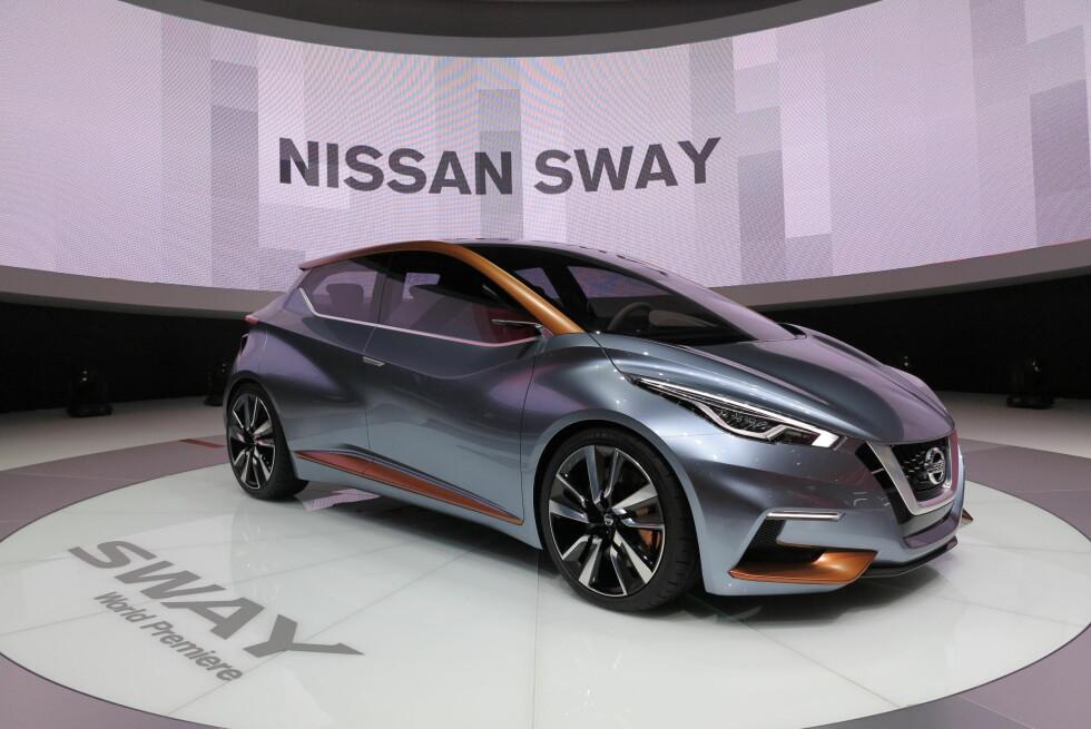STØMLINJET: Bilens «ansikt» kan minne om et slangehode. Helheten skal gi et inntrykk av hvordan den neste småbilen fra Nissan kan se ut.  Foto: FRED MAGNE SKILLEBÆK