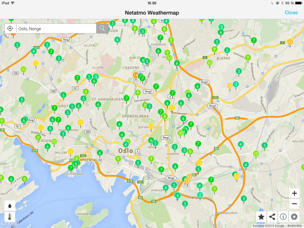 MANGE «VÆRVENNER»: På kartet får du oversikten over andre som har værstasjoner i området der du bor eller befinner deg. Foto: TORE NESET
