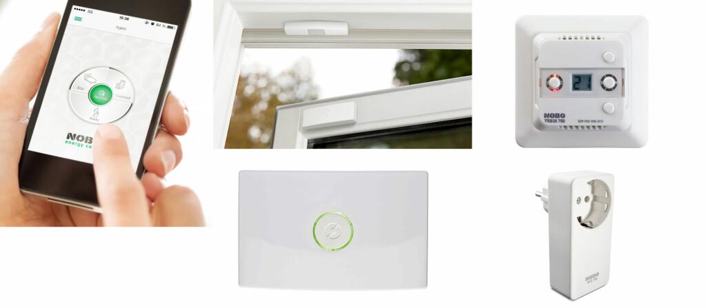 NOBØ: Fjernstyring fra Nobø baserer seg på trådøs styring fra mobil. Du kan styre ovner fra Nobø pluss gulvvarme og andre apparater. Vindusføleren gjør at ikke termostatene blir lurt. Foto: Produsenten
