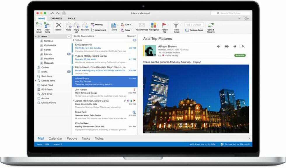 MER MODERNE: Slik ser Outlook ut i den nye Office-versjonen for Mac.