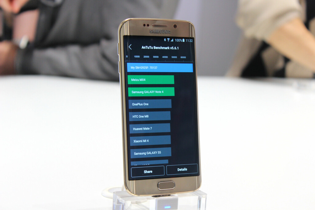 DET GÅR UNNA: Samsungs egenutviklede Exynos-prosessor på åtte kjerner ser ut til å løpe fra de andre på markedet. Den blå stripen indikerer hvor langt foran S6 Edge ligger foran konkurrentene i ytelsestesten Antutu. Foto: KIRSTI ØSTVANG