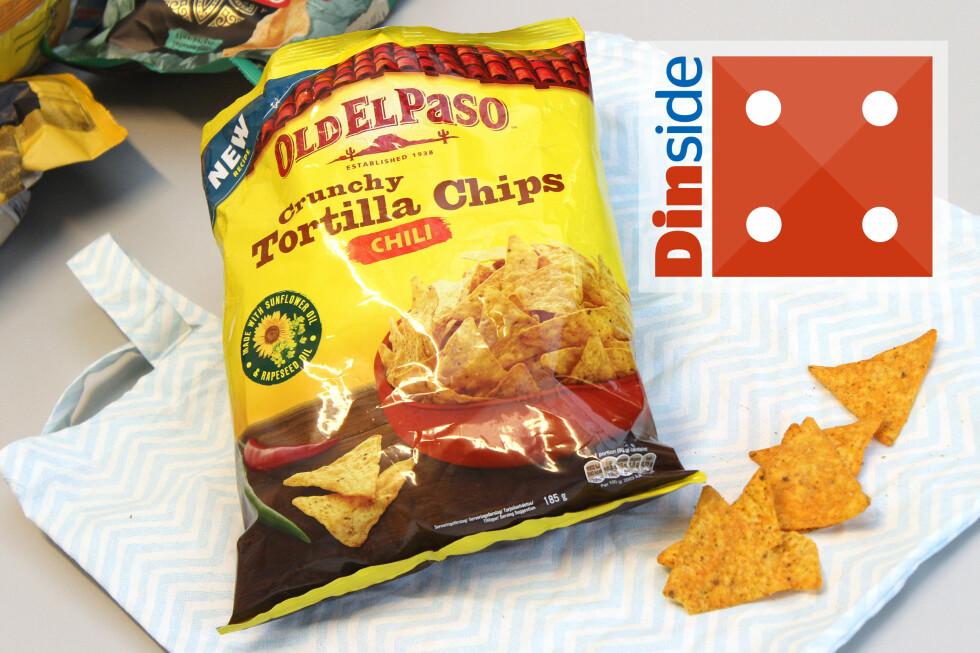<strong><b>OLD EL PASO:</strong></b> 185 gram, 479 kcal og 1,5 gram salt per 100 gram chips. Foto: OLE PETTER BAUGERØD STOKKE