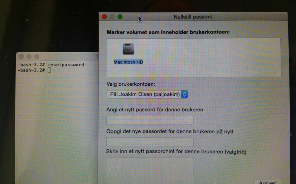 BYTT PASSORD: Det er enkelt å bytte passordet på en brukerkonto på Mac. Du trenger ikke en gang å kunne det fra før. Foto: PÅL JOAKIM OLSEN