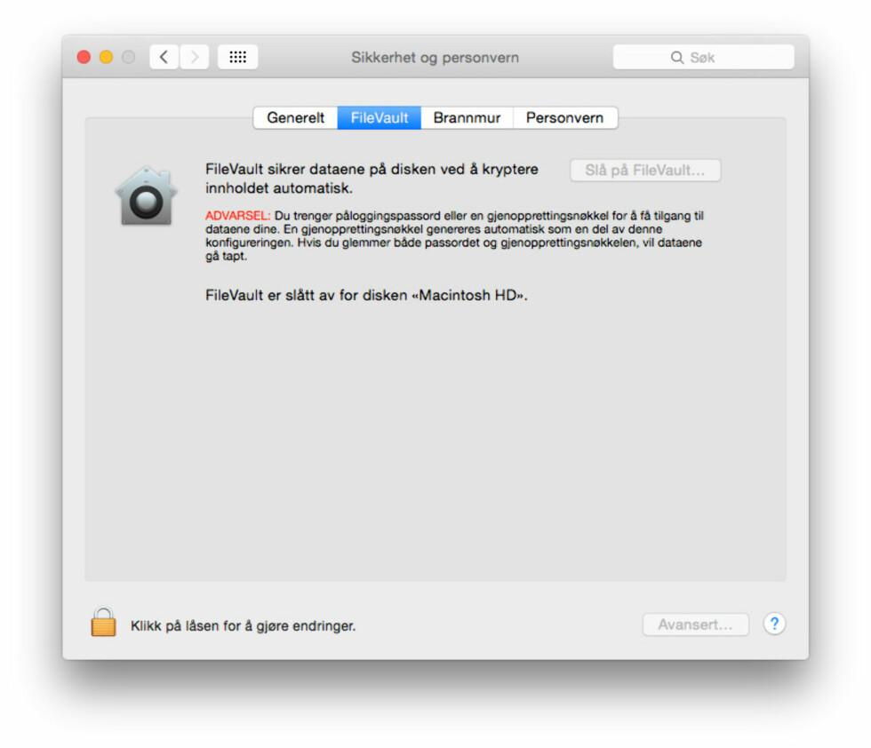 KRYPTERING: For å forhindre at andre får tilgang til dine private filer, finnes funksjonen FileVault innebygd i OS X. Foto: PÅL JOAKIM OLSEN