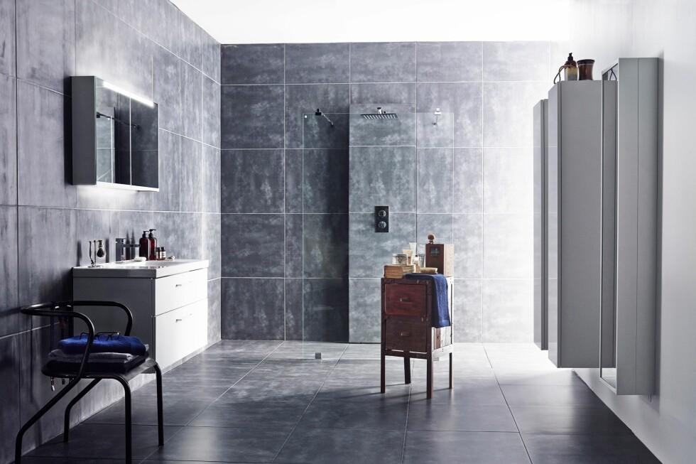 SØMLØST: Du kler blandebatteriveggen inn i flisene du har valgt ellers i dusjen. Foto: INR