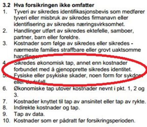 DEKKER IKKE TAPET Forsikringen dekker bare utgiftene, ikke selve tapet. Her fra BankNorwegians vilkår. Foto: BANKNORWEGIAN