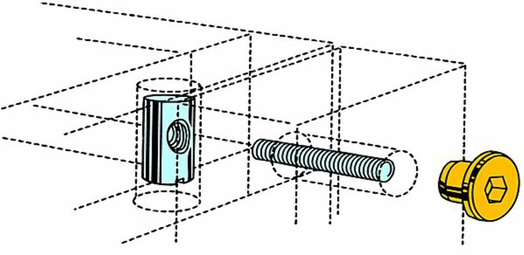 KOBLINGSSKRUE OG BOLT: Prinnsipptegning av koblingsskrue, mutter og bolt. Foto: Produsenten
