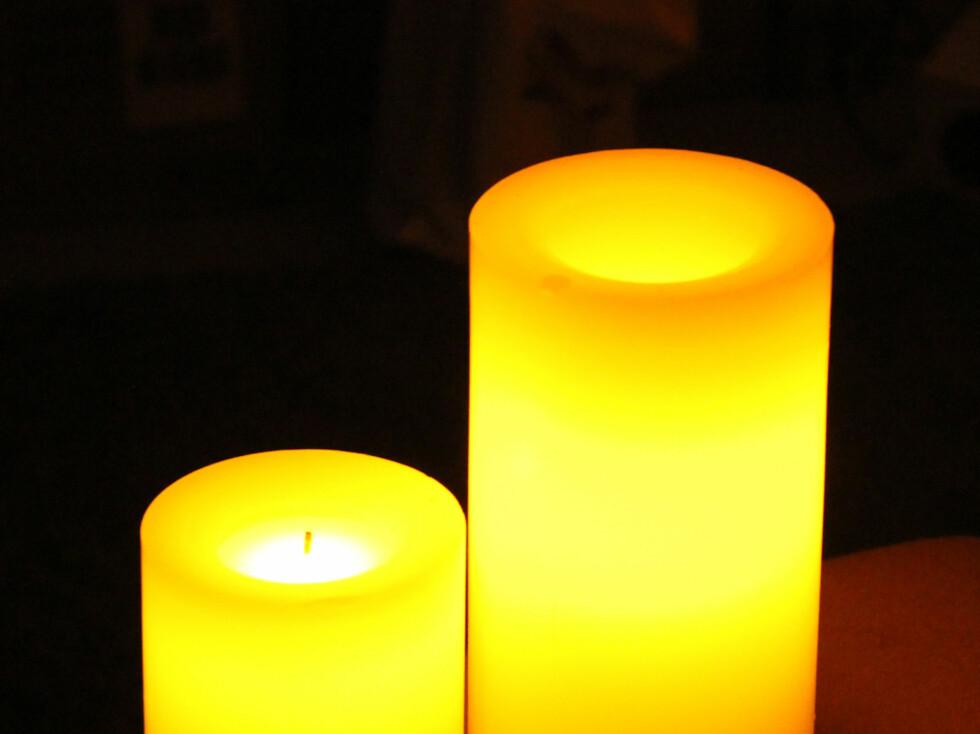 Clas Ohlson-lysene i mørke omgivelser. Foto: KRISTIN SØRDAL