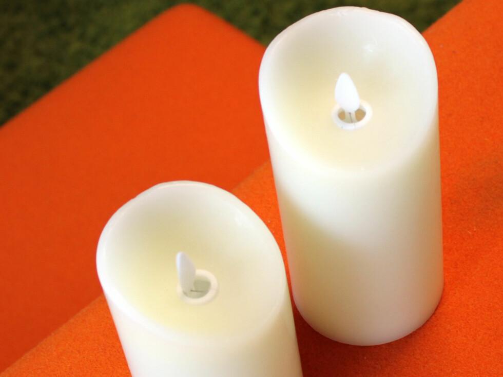 «Kubbelys med simulert naturlig flamme», fra Arnøy Engros: I hovedtrekk like egenskaper som foregående, men disse er laget av voks. Også disse kan styres av fjernkontroll (19 kroner ekstra), eller du kan skru av, på eller velge timer på undersiden av lyset. Disse gir et ekte inntryk, og denne er blant de stilleste av denne typen - uten kneppelyd fra fjæra. Vi liker disse best i denne gruppa. Fint og varmt lys, med rolig vippende flamme.Pris: 119 kroner og 129 kroner (fås bla. hos Byggmakker og Jernia) Foto: KRISTIN SØRDAL
