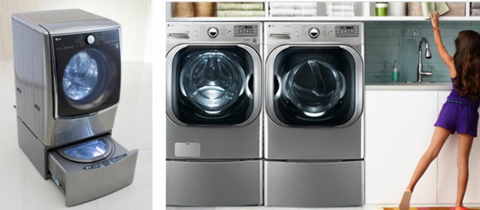 DOBBELVASK: LGs nye Twin Wash er tilpasset det amerikanske markedet, den nye maskinen ser du til venstre, til høyre vaskemaskin og tørketrommel slik de selges i Amerika i dag. Foto: LG ELECTRONICS