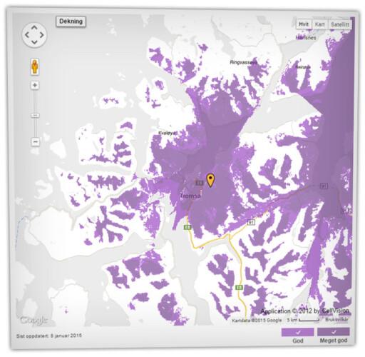 SJEKK: Både Netcom og Telenor har dekningskart du kan sjekke, uten at det gir deg hele svaret, selvfølgelig. Bor du i Harstad skal du kunne bruke Netcoms 4G, ifølge kartet, men plutselig kan du oppdage at betongvegger eller fart på bussen kan skape trøbbel.  Foto: OLE PETTER BAUGERØD STOKKE