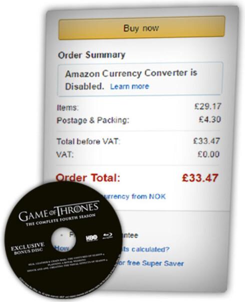 HAVNER OVER: Dette eksempelet fra Amazon.co.uk havner over 350 kroner. Varen koster bare 339 kroner, men frakta på 50 kroner kommer på toppen. Dagens valutakurser stikker også kjepper i hjulene. Foto: OLE PETTER BAUGERØD STOKKE