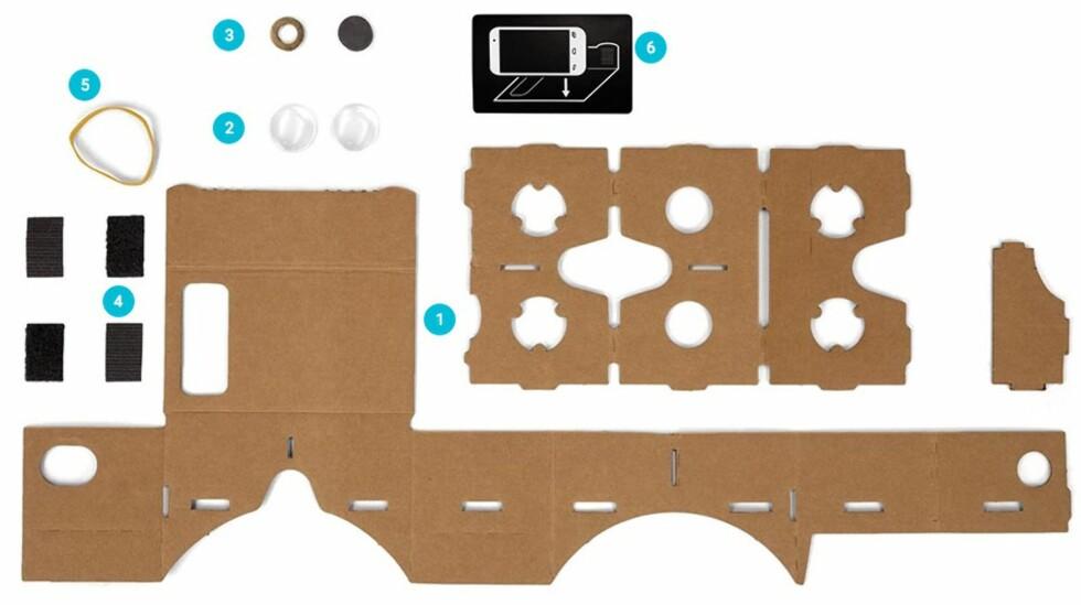 ALT DU TRENGER: Her er alt du trenger for å lage en Cardboard-enhet selv. Foto: GOOGLE