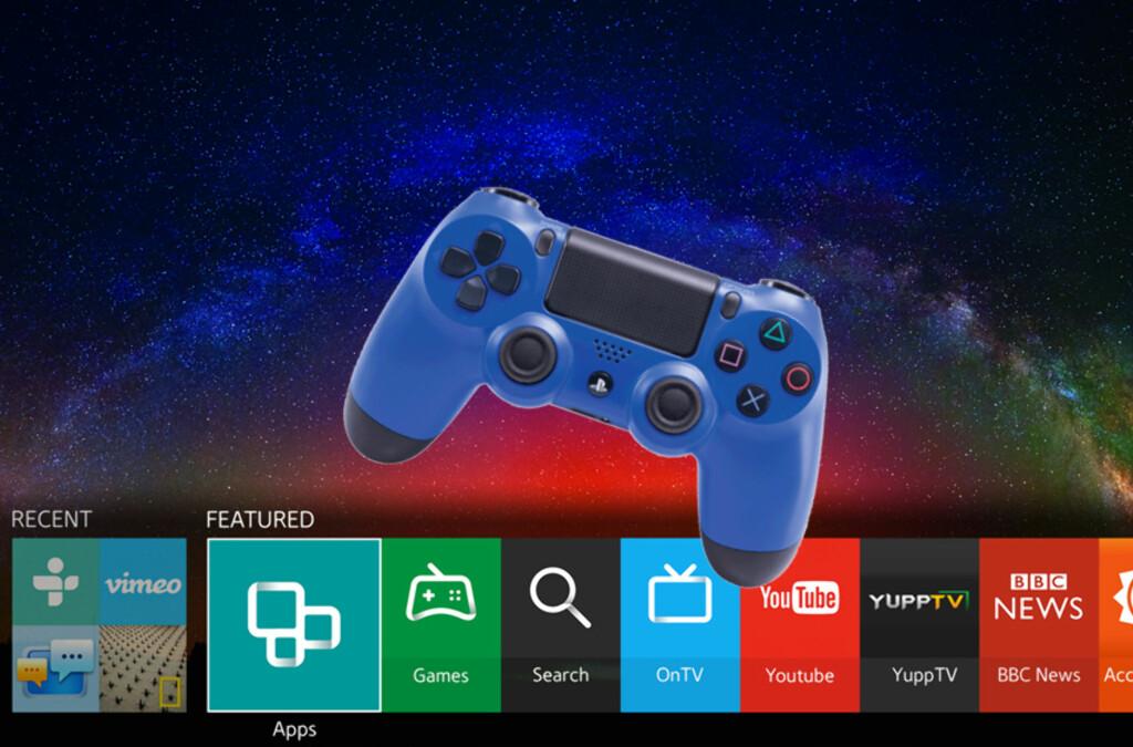 <b>PLAYSTATION 2 & 3-SPILL RETT I TVEN: </b> Samsungs nye SmartTV-meny med operativsystemet Tizen. Går alt etter planen skal du i løpet av året kunne streame gamle Playstation 2 og 3-spill direkte på TV-er fra Samsung og Sony.  Foto: SAMSUNG/SONY