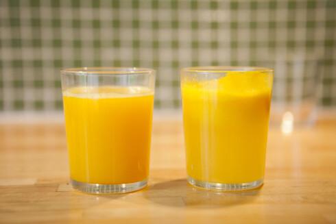 SKILLER SEG: Juice fra presse (til venstre) og sentrifuge (til høyre). Foto: PER ERVLAND